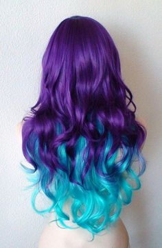 Long curly hair by kekeshop frisuren männer Deep purple / Teal blue Ombre wig. Quality synthetic wig for Cosplay or daytime use Blue Ombre Wig, Purple Wig, Brown Ombre Hair, Ombre Wigs, Ombre Hair Color, Cool Hair Color, Blue Hair, Purple Teal, Deep Purple