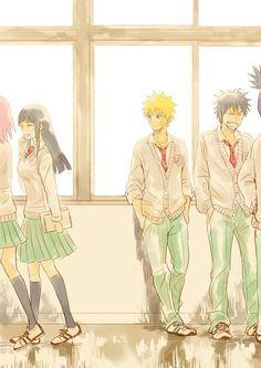 Haruno Sakura, Hyuga Hinata, Uzumaki Naruto and Inuzuka Kiba. Naruhina, Hinata Hyuga, Naruto Uzumaki, Shikamaru, Gaara, Anime Naruto, Manga Anime, Naruto High School, Konoha High School