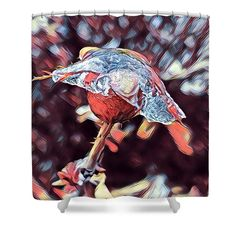 "Rose Bud Frozen In Time  Shower Curtain by Debra Martz.  This shower curtain is made from 100% polyester fabric and includes 12 holes at the top of the curtain for simple hanging.  The total dimensions of the shower curtain are 71"" wide x 74"" tall."