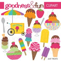 Mmmm, ice cream! Have fun this summer with these colorful treats. Use them for scrapbooking, stationery,  embroidery and so much  more.  You'll receive 14 illustrations in formats of 300 dpi PNG with  transparent background, JPG and EPS.
