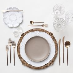 Walnut Florentine Chargers + Signature Collection & Heath Ceramics in French Grey + Rose Gold Flatware + Vintage Cut Crystal/Coupe Trios + Antique Crystal Salt Cellars | Casa de Perrin Design Presentation