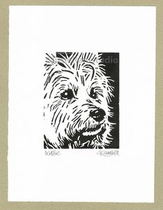 West Highland Terrier Dog - Linocut Original hand-pulled Relief Print on Etsy, $33.25 AUD
