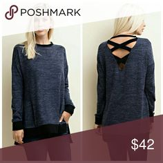 Perfect Criss Cross Top Navy Long sleeve, knit top with contrast binding, deep v back with contrast criss cross binding and side vented hem.   Made in USA    85% Polyester 10% Rayon 5% Spandex  Colors: Charcoal or Navy Tops Tees - Long Sleeve