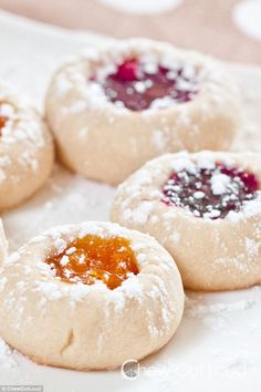 Jam Thumbprint Cookies Buttery Jam Thumbprint Cookies by chewoutloud: Tiny jammy biscuits. Buttery Jam Thumbprint Cookies by chewoutloud: Tiny jammy biscuits. Best Holiday Cookies, Holiday Cookie Recipes, Xmas Cookies, Yummy Cookies, Holiday Baking, Christmas Baking, Sugar Cookies, Buttery Cookies, Making Cookies