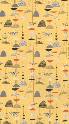 'Calyx', furnishing fabric, designed by Lucienne Day, manufactured by Heal & Son. Photography: Victoria and Albert Museum, courtesy of the estate of Lucienne Day Patterns In Nature, Textile Patterns, Textile Prints, Textile Design, Fabric Design, Print Patterns, Lucienne Day, Vintage Textiles, Vintage Patterns