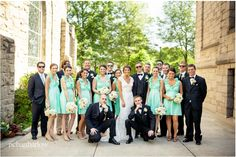 7 Bridesmaids in Mint Dresses
