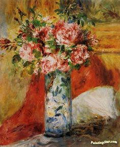 Roses in a Vase Artwork by Pierre Auguste Renoir Hand-painted and Art Prints on canvas for sale,you can custom the size and frame