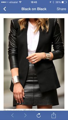 Black on black leather skirt great for after work outfit