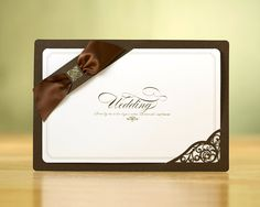 Personalized Custom Wedding Invitations Counts of 25 Cards + Seals + Envelopes (Brown Ribbon & Laser Cut Ym704) with Rsvp