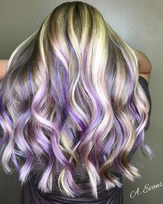 purple hair Purple crush by Alyssa Ashley Evans. Keep your color vibrant at home with Timeless Color Fade-Defy Shampoo amp; Purple Hair Streaks, Blonde Hair With Highlights, Hair Color Purple, Hair Dye Colors, Cool Hair Color, Purple Hair With Blonde, Faded Purple Hair, Purple Sky, Burgundy Hair