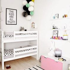 Kid's shared bedroom with bunk beds.