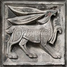 Old bas-relief of fairytale hare — Stock Photo Concrete Sculpture, Sculpture Art, Stone Carving, Wood Carving, Clay Tiles, Indigenous Art, Ancient Art, Rock Art, Cat Art