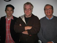 """Actors Ethan Hawke and Philip Seymour Hoffman with Director Sidney Lumet in the WNYC studios on October 25. They spoke to Leonard about their new film, """"Before the Devil Knows You're Dead"""""""