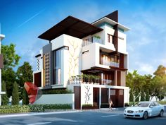 See Complete Architectural Visualization, Rendering, Interior Exterior Designs gallery at one place. Bungalow House Design, House Front Design, Modern House Design, Bungalow Designs, Modern Houses, 3d Architectural Rendering, 3d Architectural Visualization, 3d Visualization, Terrace Garden Design