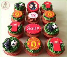 Manchester United Birthday Cupcakes in Cookies and Cream Flavour #cutsiecupcakes #manunited #cookiesandcream