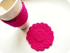 Pink crochet coaster and cup sleeve