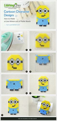 Do you like minions? Today, I will entirely show you how to make a minion out of perler beads. a cute perler bead minion is waiting for you! Melty Bead Patterns, Pearler Bead Patterns, Perler Patterns, Beading Patterns, Hama Beads Design, Diy Perler Beads, Perler Bead Art, Pearler Beads, Pixel Art