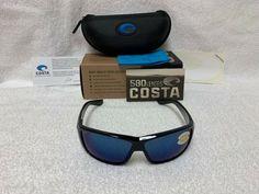 1159fcd128c NEW Costa Del Mar Cat Cay Polarized Sunglasses Black Blue Mirror 580P AT 11  OBMP