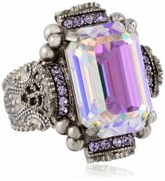 Sorrelli Violet Bold Crystal Antique Silver-Tone Cocktail Adjustable Ring: Jewelry