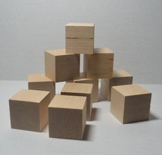 Unfinished Wood Blocks for wood crafts 4 pieces 1 1//2 inch 4 cm Four cubes