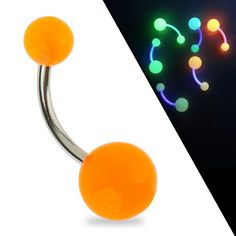 316L Surgical Steel 14 Gauge Belly Ring / Navel Button Piercing / Bananabell / Barbell With Orange Balls Glowing In The Dark. GROOVEY DESIGN: Trendy color that glows in the dark! This piercing will make you the party star by day and by night!. HYPOALLERGENIC: Made of non-corroding non-allergenic surgical steel. AWESOME GIFT: Each body jewelry loving girl will be delighted receiving this fab piercing. SHOP WITH CONFIDENCE: VAGA products are tested to guarantee their quality and sold to you...