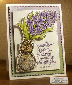 Hyacinth Bulb in Glass digital stamp set by Power Poppy, card design  by Barb Walker.