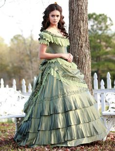 Mint Green Victorian Gown Costume Elena Vampire Diaries Dress  #timetravelcostumes @TimeTravelStyle