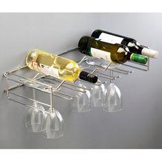 Home Chrome Wine Bottle & Glasses Holder Shelving Unit - Holds 6 Bottles & 15 Wine Glasses Hanging Wine Rack, Wine Glass Holder, Wine Cellar Racks, Wine Bottle Glasses, Built In Wine Rack, Kitchen Storage Solutions, Design, Shelving, Bottles