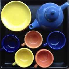 Vintage Small Tea Set Service For 5 With Cups, Saucers, Teapot and Lid! Beautiful Bright Cobalt, Yellow, Orange, Salmon and Periwinkle Blue by trisheye on Etsy