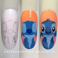 Ideas disney nails acrylic stitch for 2020 Funky Nail Art, Funky Nails, Cute Nail Art, Cute Nails, Disney Acrylic Nails, Best Acrylic Nails, Diy Nails, Swag Nails, Diy Ongles