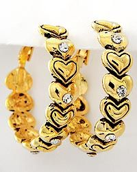 New Antique Gold Tone Heart Hoops , $7.95