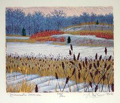 Minnesota Sumac by Gordon Louis Mortensen. Reduction colour woodcut.