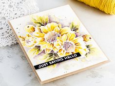 Just saying hello - watercoloured Altenew Spring Daisy card by Debby Hughes. http://limedoodledesign.com/2017/04/altenews-3rd-anniversary-blog-hop-giveaway-winner/