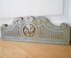 Antique French Oak Wood Carved GRAY  PEDIMENT PANEL + FIGURE