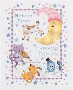 Hey Diddle Diddle Birth Record - Cross Stitch Kit