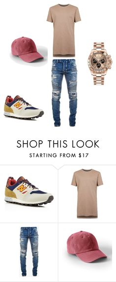 """""""Untitled #85"""" by chey261 ❤ liked on Polyvore featuring New Balance, Topman, Balmain, Lands' End, Rolex, men's fashion and menswear"""