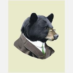 Black Bear Print artwork, multi, accents