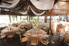 Reception décor at Paradise Cove included ivory draping, string lights, and hints of gold. PHOTOGRAPHS BY MISTY MIOTTO PHOTOGRAPHY Ashley + Matthew - Orlando Magazine - June 2015 - Orlando, FL