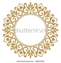Decorative line art frames for design template. Elegant vector element in Eastern style, place for text. Golden outline floral border. Lace illustration for invitations and greeting cards.