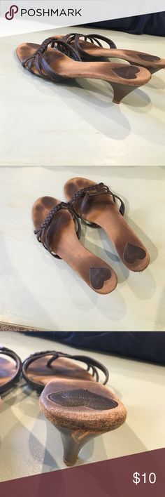 Well loved sandals with small heel. These have definitely been worn as shown in pictures but are still really cute on!  A little too small for me now after kids 😕. UNIONBAY Shoes Sandals