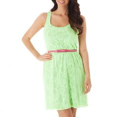Lace Dress with Contrast Belt... Don't like the pink but love the green dress