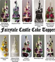 Fairy Tale Castle Cake Topper In White Sparkle, Geystone, Antiqued Black Or  Brown, Ivory And Tartan, White And Iridescent Finishes
