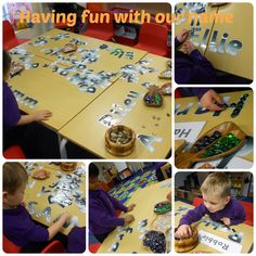 Foundation Stage Two - Loose parts and name recognition. Name Writing Activities, Phonics Activities, Book Activities, Morning Activities, First Day Of School Activities, Kindergarten Names, Kindergarten Activities, Early Years Topics, Writing Area
