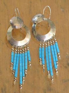 VINTAGE SOUTHWESTERN TRIBAL STERLING SILVER & TURQUOISE DANGLE PIERCED EARRINGS #navajo #turquoise #earrings