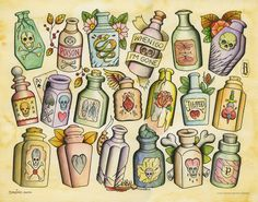 Many poison bottles!!