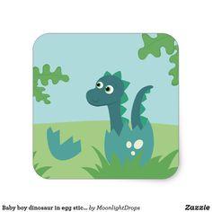 Baby boy dinosaur in egg sticker.