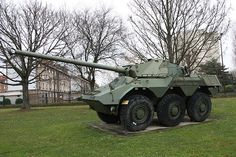 """The Renault VBC-90 (Véhicule Blindé de Combat, or """"Armoured Combat Vehicle"""") is a six-wheeled French armoured car carrying a 90mm high-velocity gun mated to a sophisticated fire control computer and ranging system. It was developed primarily for internal security or armed reconnaissance purposes. Modeled after Renault's Véhicule de l'Avant Blindé (VAB) armoured personnel carrier, the VBC-90 was engineered in concert with Saviem and Creusot-Loire.[2] One was also built in prototype form by…"""