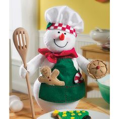 Snowman Chef Felt Applique Kit - 11492231 - Overstock - Big Discounts on Bucilla Needlework Kits - Mobile Christmas Sewing, Felt Christmas, Christmas Snowman, Christmas Stockings, Christmas Ornaments, Snowman Crafts, Christmas Projects, Felt Crafts, Christmas Crafts
