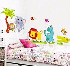 Happy Animal Wall Decals Kids Bedroom & Baby Nursery Stickers Art Decor Room HOT N@N. Theme:Happy Jungle animal Coun. try/Region of Manufacture:Thai. land Style:Home decor Material. :Vinyl Brand:NEW Size:120*50.