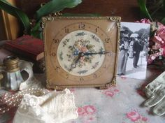 Vintage 1930's Embroidered Petit Point Ormolu Dressing Table Clock